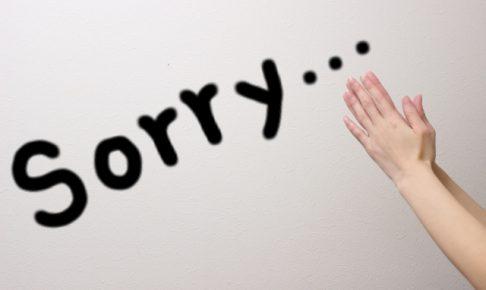 レクサスオーナー,特典,sorryの文字とごめんなさいの手の写真
